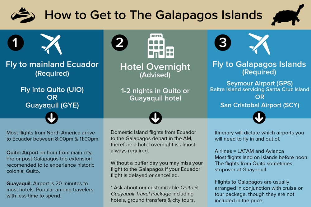 Infographic detailing the three steps to get to the Galapagos Islands. 1. Fly to Ecuador 2. Stay in hotel 3. Fly to the Galapagos Islands