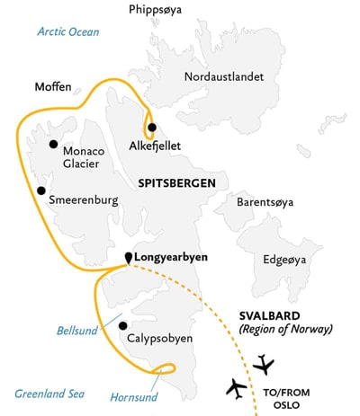 An itinerary and route map of the intro to Spitsbergen Svalbard Cruise