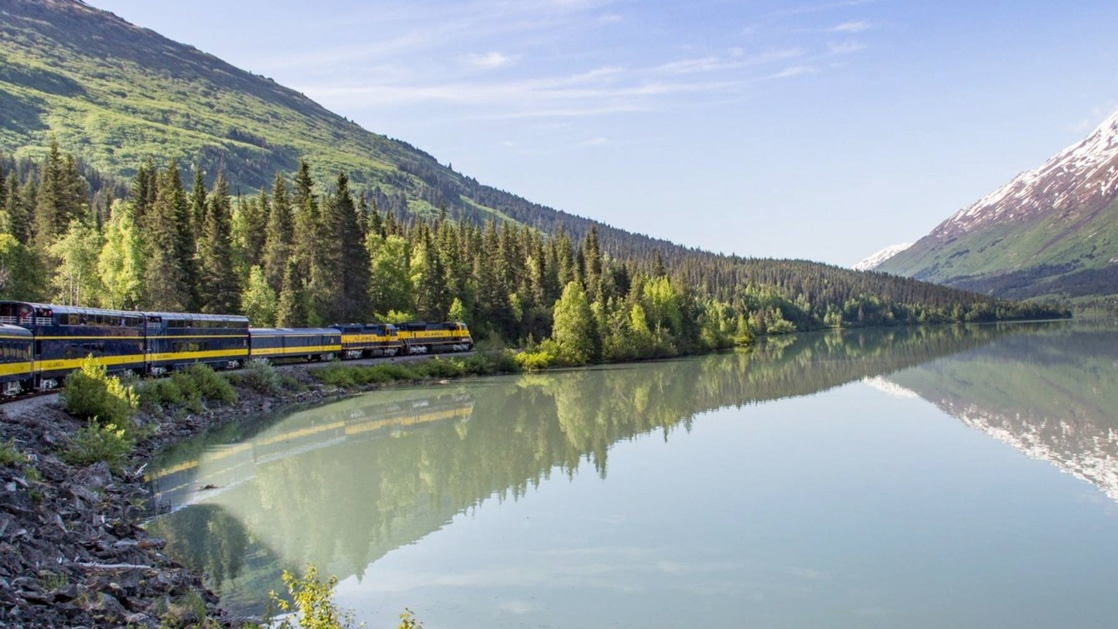 Alaska Railroad train moves beside glassy water, among forested hills on a sunny day, during a Kenai Peninsula land and sea tour.