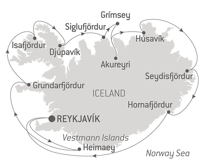 Route map of Icelandic Nature & Traditions small ship cruise, operating round-trip from Reykjavik & making a complete circumnavigation.