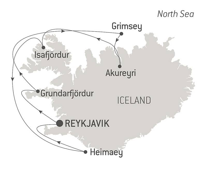 Route map of Icelandic Mosaic cruise, operating round-trip from Reykjavik, Iceland, with visits along the west coast.