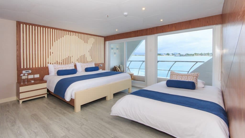 Golden Suite with king-size matrimonial bed and accommodation for a third guest aboard Elite