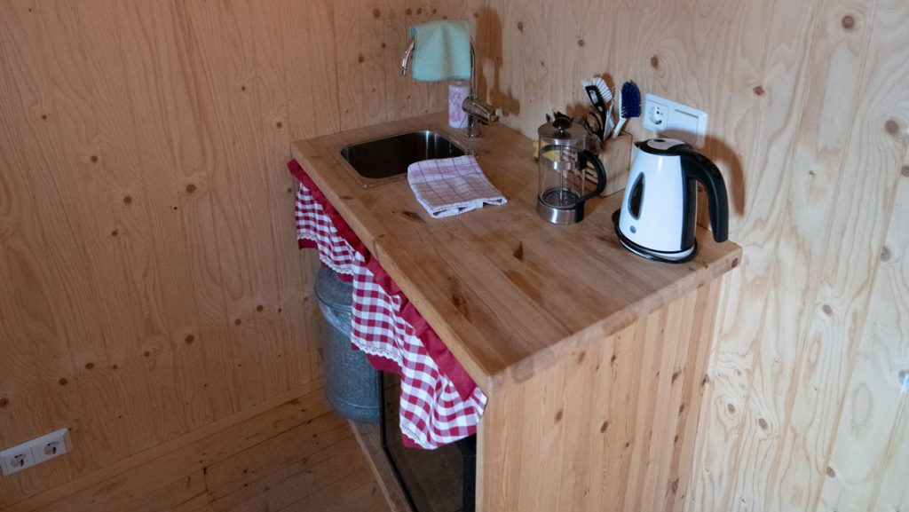 Coffee and tea station in traditional turf guesthouse