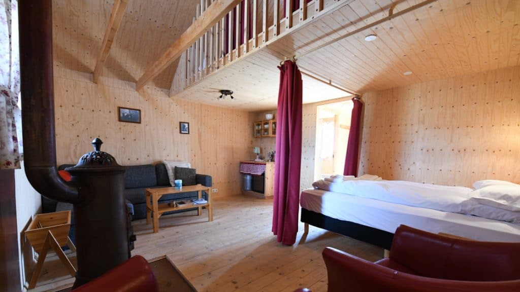 Downstairs double bed in traditional turf guesthouse