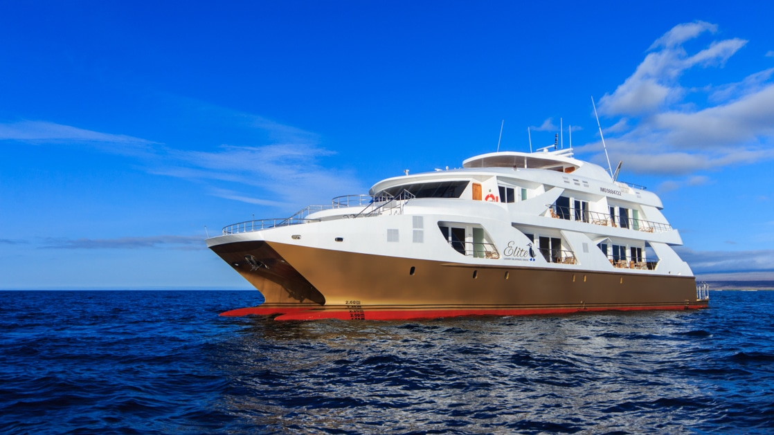 Exterior of mc Elite Galapagos catamaran with gold hull & 3 white decks, cruising in calm open water on a sunny day.
