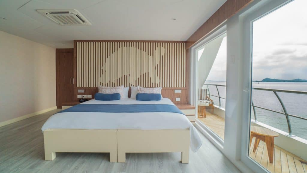 Golden Suite with king-size matrimonial bed aboard Elite