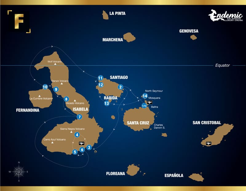 Route map of Endemic 6-day West itinerary F, operating round-trip from Baltra with visits to the islands of Santiago, Isabela, Fernandina, Rabida and Mosquera Islet.