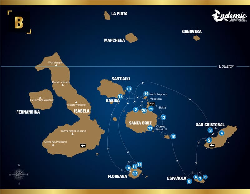 Route map of Endemic 8-day South itinerary B, operating round-trip from Baltra with visits to the islands of Santa Cruz, San Cristobal, Espanola, Santa Fe, South Plaza, Bartolome, Floreana, Chinese Hat, Santiago and North Seymour.