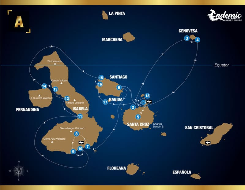 Route map of Endemic 8-day West itinerary A, operating round-trip from Baltra with visits to the islands of Santa Cruz, Genovesa, Santiago, Isabela, Fernandina, Rabida and Mosquera Islet.