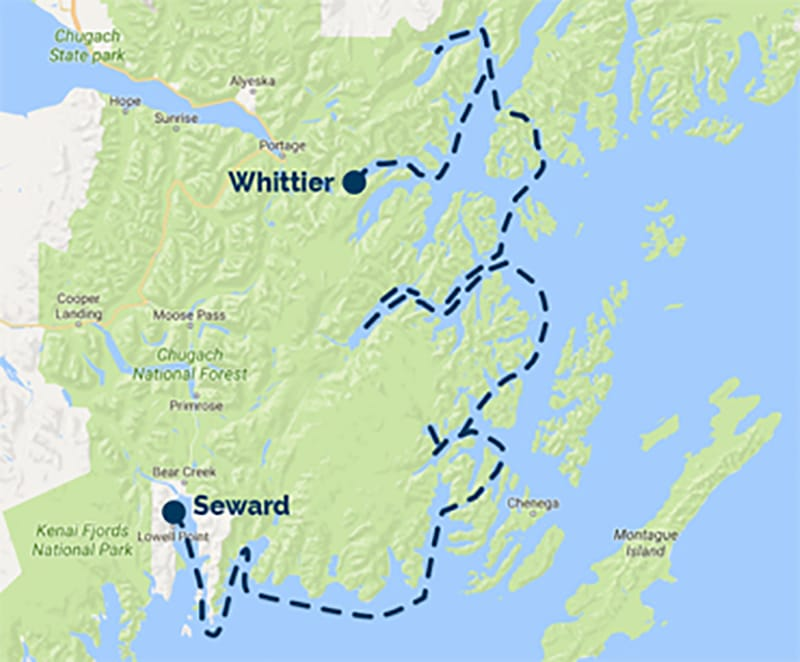 Route map of Seward-Whittier alternative itinerary for Prince William Sound Cruise & Rail Adventure.