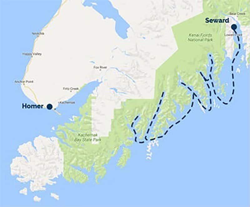 Route map of Sea Star Kenai Fjords National Park Cruise, operating round-trip from Seward, AK.