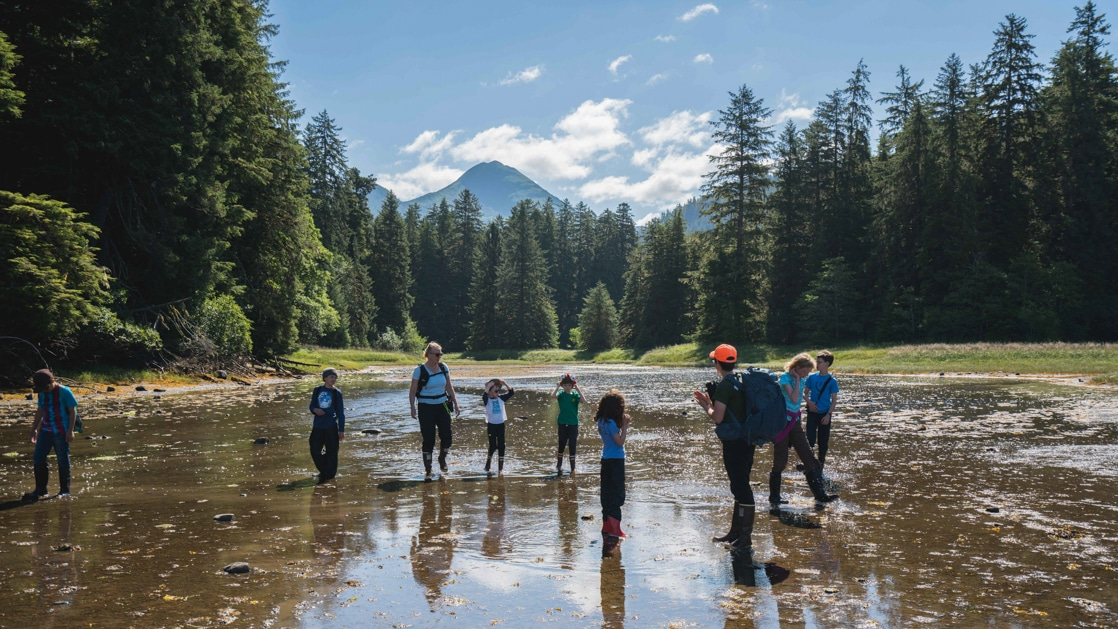Group of kids & 2 adults hike through a shallow, muddy tidal outwash surrounded by forest on a sunny day during an Alaska family cruise.