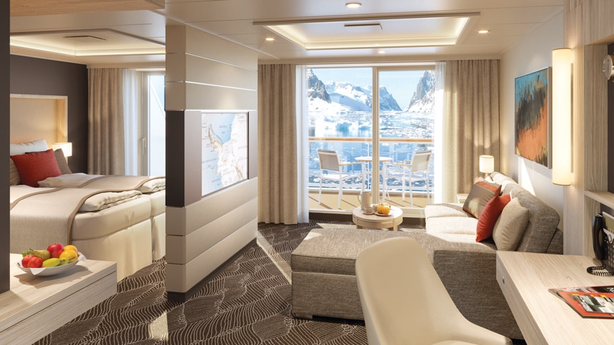 Antarctica ship cabin rendering showing sliding glass doors to private balcony, seating room, bedroom and floating TV wall.