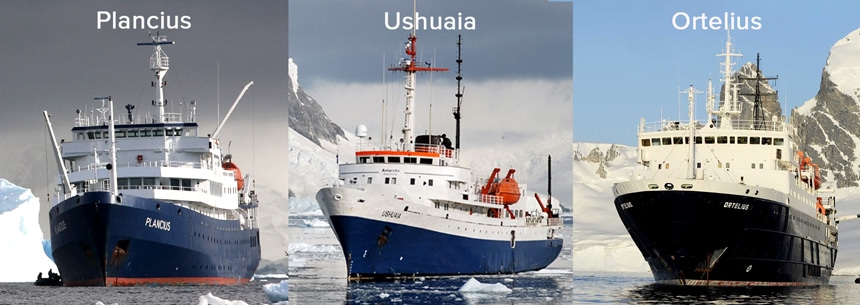 A 3 photo collage of different Antarctica research cruise ships. Plancius, Ushuaia, Ortelius