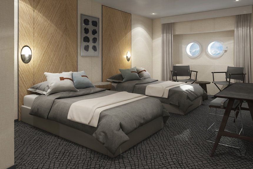 Antarctica ship cabin rendering showing two twin beds, 2 porthole windows ceiling long window curtains and and 2 chairs.