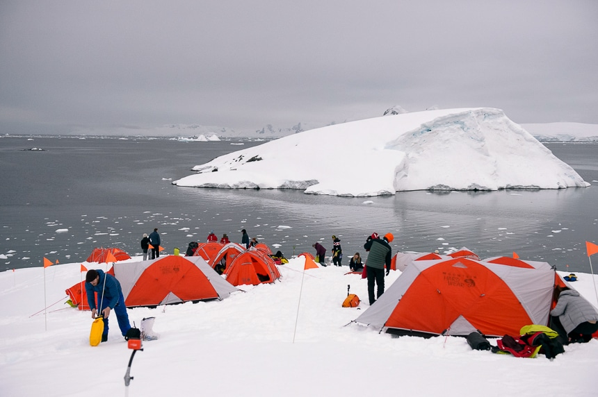 guests set up orange and white tents on the snow in Antarctica for a polar camping activity provided by popular Antarctica cruise line Polar Latitude.