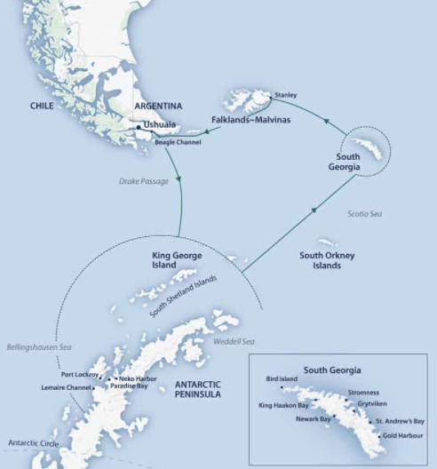 A Falklands South Georgia cruise map showing the tip of Argentina, the Falklands, South Georgia, King George Island and the Antarctic Peninsula.