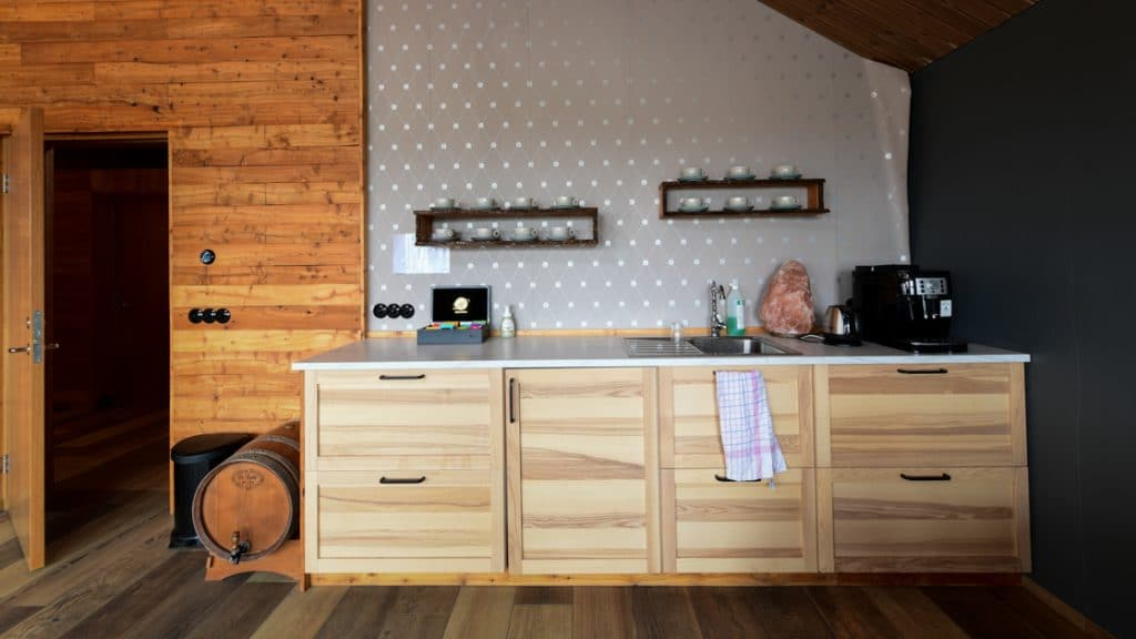 Coffee and tea station in modern Bakki guesthouse