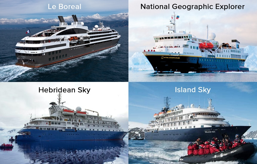 A 4 photo collage of different Antarctica luxury cruise ships. National Geographic Explorer, Le Boreal, Hebridean Sky, Island Sky.