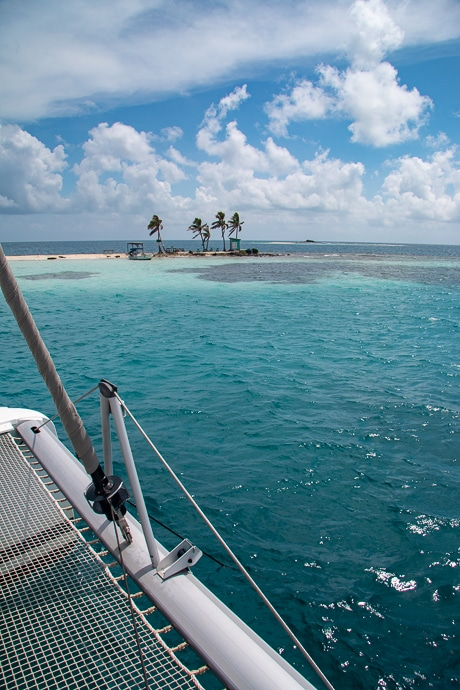 From the back deck of a Belize catamaran a tiny island of sand and palm trees sits against the teal ocean horizon.