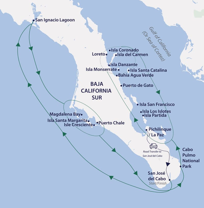 Route map of 13-day Baja California Odyssey cruise, operating round-trip from Los Cabos, Mexico, with visits along the inner & outer peninsula.