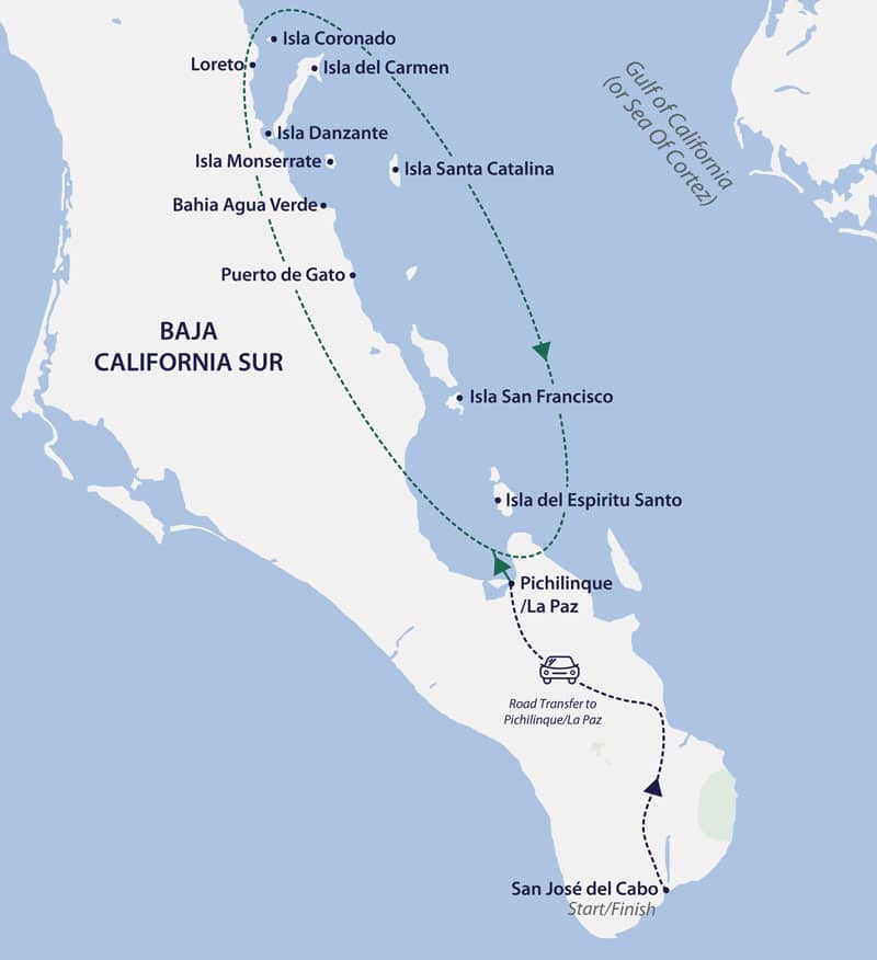 Route map of 9-day Baja California & Sea of Cortez cruise, operating round-trip from Los Cabos, Mexico, with visits along the inner coastline.