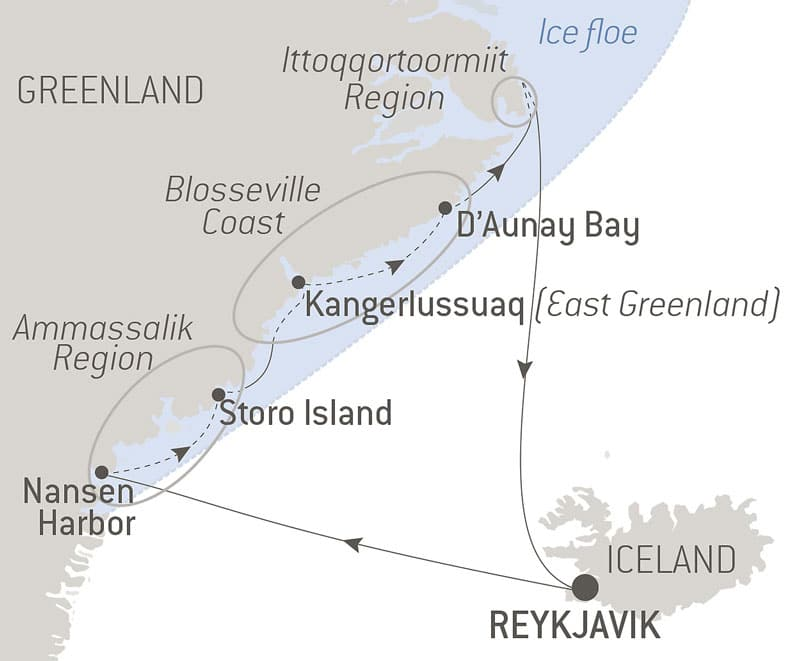 Route map of Le Commandant Charcot's At the Genesis of the French Polar Expeditions voyage, operating round-trip from Reykjavik, Iceland, with visits to northeast Greenland.