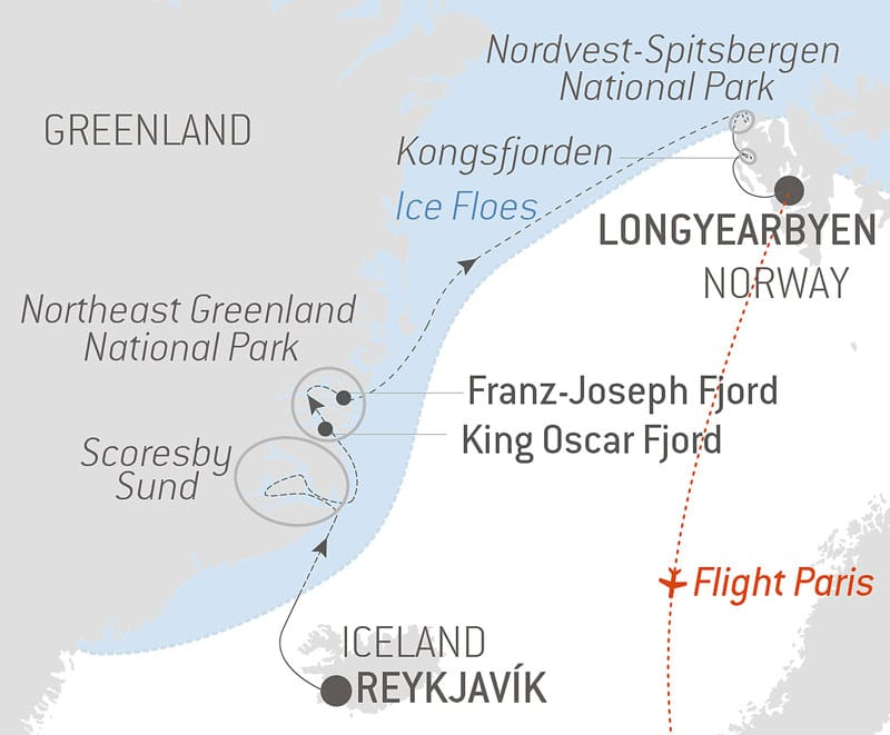 Route map of Le Commandant Charcot's Polar Odyssey Between North-East Greenland & Spitsbergen, voyage starting in Reykjavik, Iceland.