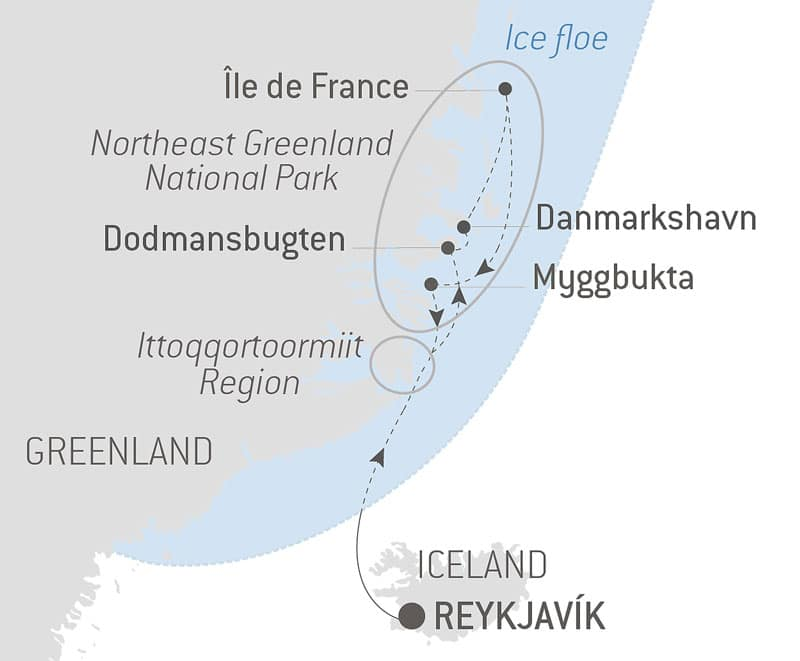 Route map of Le Commandant Charcot's Discovering Northeast Greenland National Park voyage, operating round-trip from Reykjavik, Iceland.