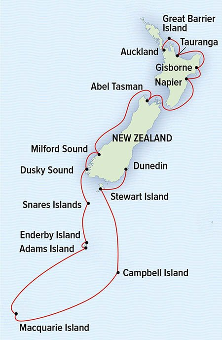 Route map of National Geographic New Zealand & Sub-Antarctic Islands cruise, operating between Auckland & Dunedin, along the West coast.