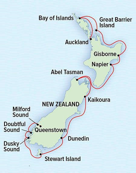 Route map of National Geographic Coastal New Zealand cruise from Auckland to Milford Sound, traveling the Eastern coastline.