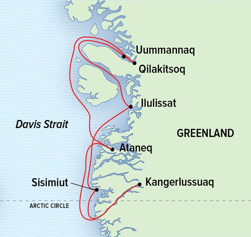 Route map of Wild Greenland Escape small ship cruise, operating round-trip from Kangerlussuaq, West Greenland.