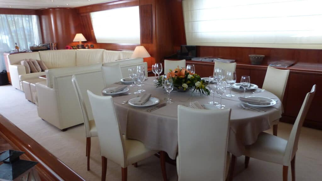 Dining room aboard Absolute King