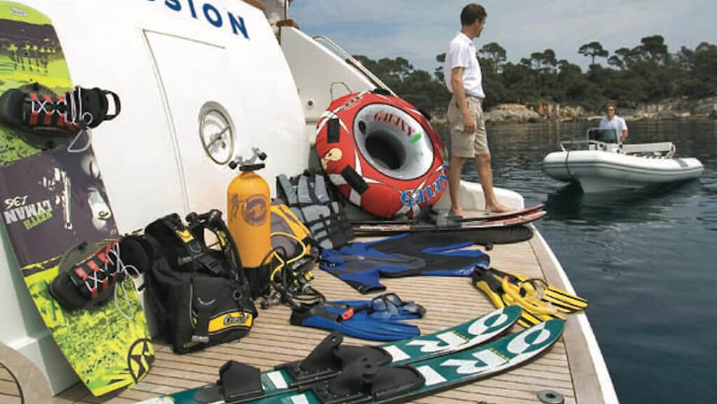 Every yacht comes equipped with the same water activity gear