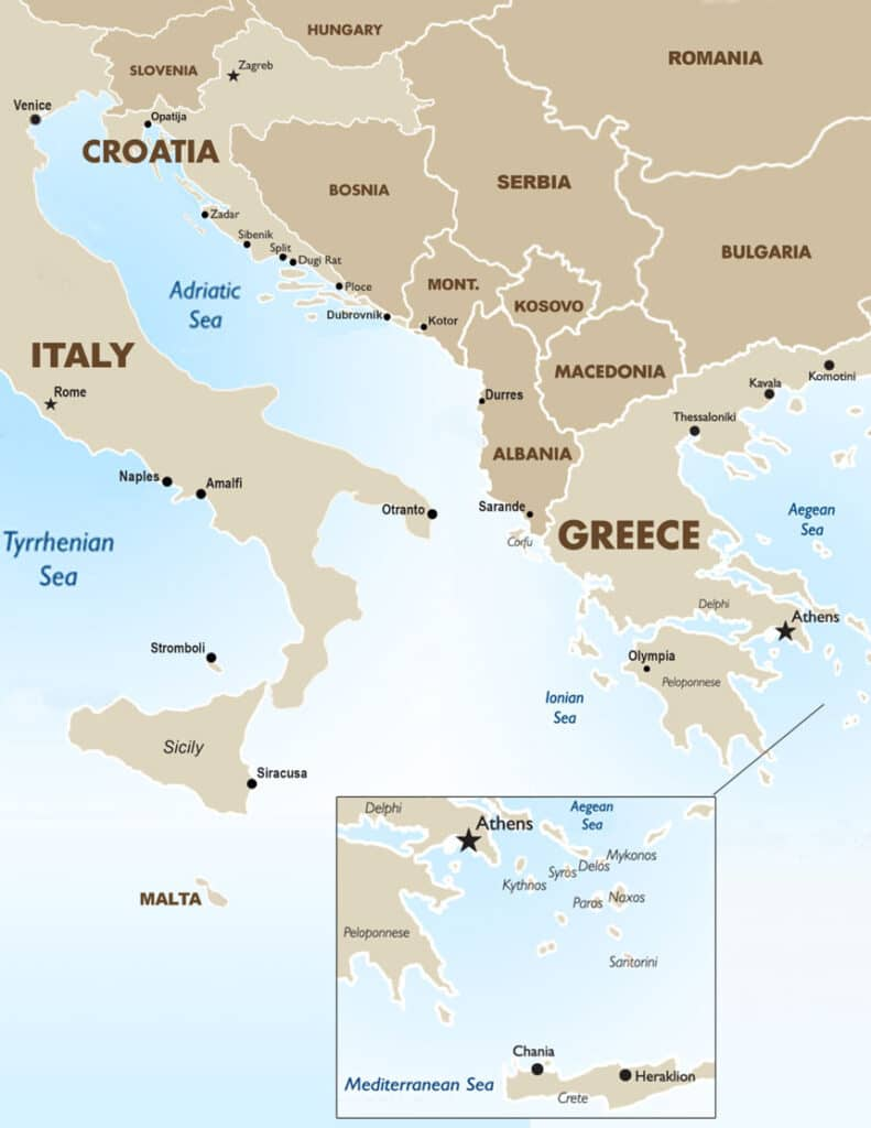 Mediterranean map showing Italy, Croatia, Greece & surrounding countries, with the Tyrrhenian, Adriatic, Ionian & Aegean Seas noted.
