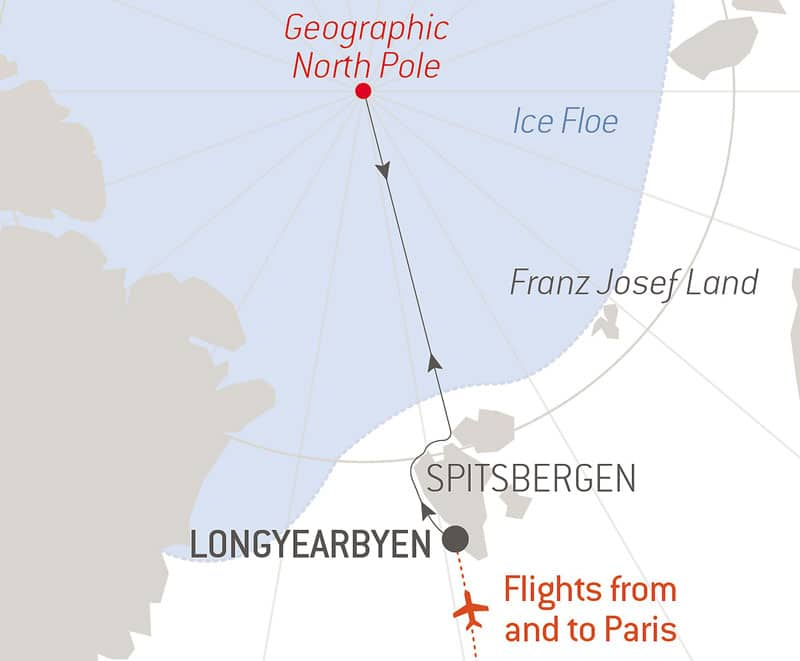Route map of Le Commandant Charcot North Pole Expedition, with round-trip flights between Paris & Longyearbyen & time sailing beside Spitsbergen.