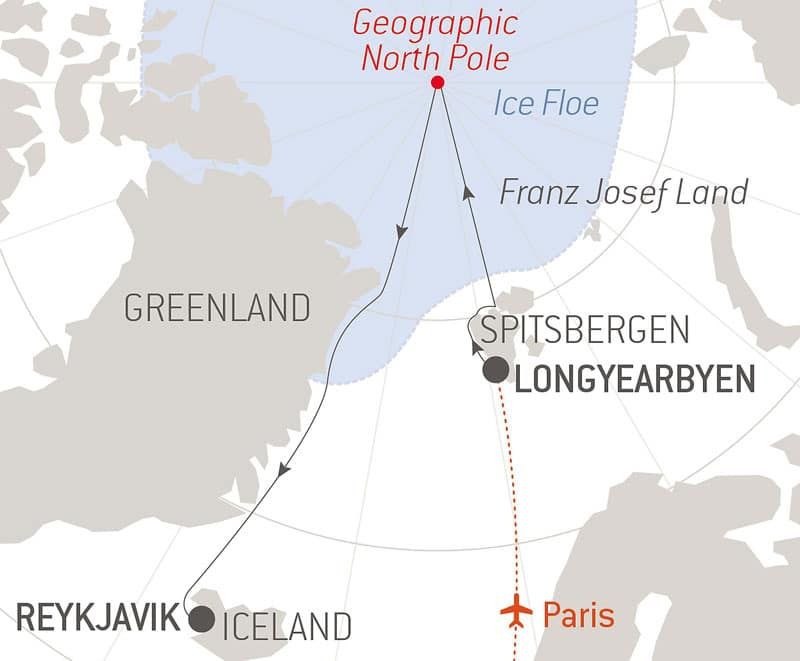 Route map of alternative Le Commandant Charcot North Pole Expedition, with a flight from Paris to Longyearbyen & time sailing beside Spitsbergen & northeast Greenland before disembarking in Reykjavik, Iceland.