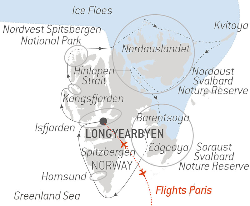 Route map of Le Commandant Charcot's Polar Immersion voyage, operating via round-trip flights from Paris with a circumnavigation of Spitsbergen.
