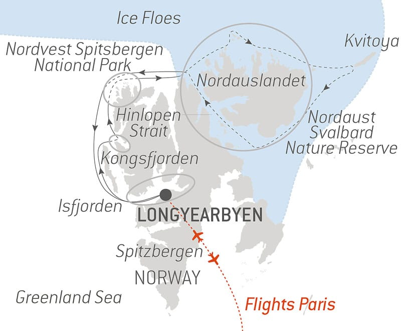 Route map of Le Commandant Charcot's Exploring Nordauslandet voyage, operating via round-trip flights from Paris with visits to northern Spitsbergen.